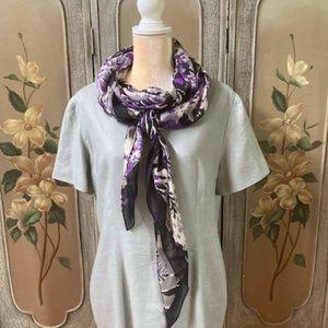 VALERIE STEVENS linen green dress w/scarf size 16